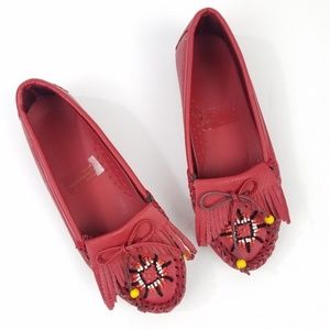 Vintage Red Leather Beaded Tassel Moccasins